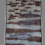 "'Broken Pen', 36"" x 18"" textiles by Laurie Swim"