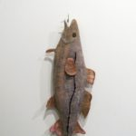 """'Hooked' by Elise Campbell. Wool and hand dyed silk, 33"""" x 10""""."""