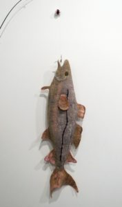 "'Hooked' by Elise Campbell. Wool and hand dyed silk, 33"" x 10""."