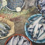 'Fresh Catch' 14' x 21' watercolour by Sue Belding