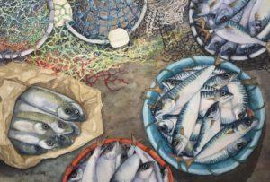 'Fresh Catch' 14' x 21' watercolour by Sue Belding