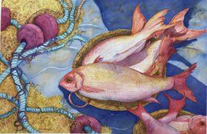 'Wharf's Bounty', 14' x 21' watercolour by Sue Belding