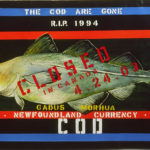 """'The Cod Are Gone - Closed in Canada' by Su Rogers. Acrylic, mixed media, gloss on canvas 26"""" (w) x 55.5"""" (l)"""
